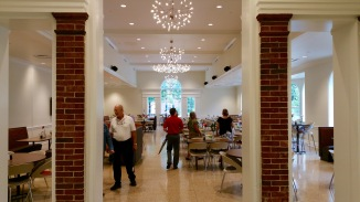The brick archway is the old arch from Symmes Hall. This room is recycled from Symmes Hall using much from the old building including the ceiling and the windows.