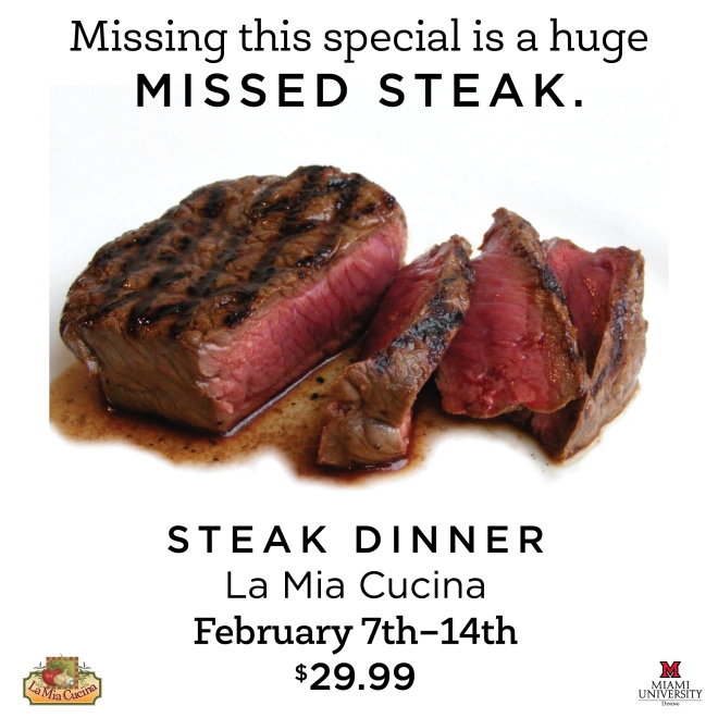 Steak Dinner Special at La Mia Cucina