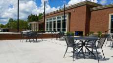 There are two outdoor seating areas for guests to study, socialize and relax.