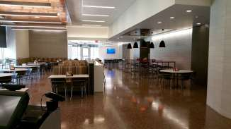 Students pay here and then enter the sleek new Martin Dining Hall. To our right are the bathrooms for this floor.