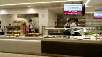 Dining staff finish up preparations for the Open House.