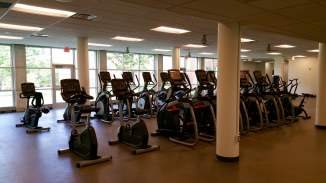 On the lower level is the new North Quad Fitness Center with more than 20 cardio options, dumbbells, barbells, kettlebells and much more.